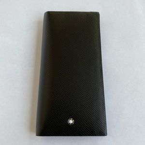 New Montblanc Black Leather Long Wallet Clutch